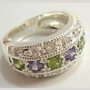 Amethyst & Peridot Ring Sz 8 /925 Sterling Filled